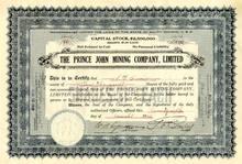 Prince John Mining Company 1923