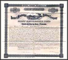 Racine and Mississippi Railroad Company 1875 Convertible Bond
