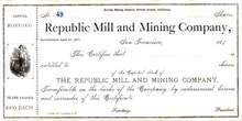Republic Mill and Mining Company 1870's - Eureka Mining District,, California