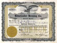 Rhinelander Brewing Co. 1933 - Certificate #1