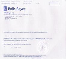 Rolls Royce Stock Certificate