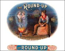 The Round - Up Cigar Box Top Label