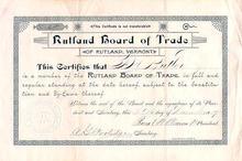 Rutland, Vermont Board of Trade - 1889