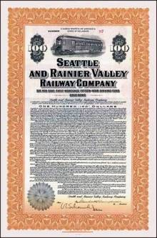 Seattle and Rainier Valley Railway Company Bond 1916 - SCARCE