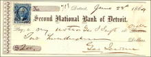 Second National Bank of Detroit Check 1864