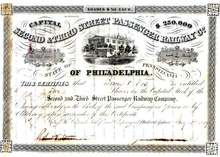 Second & Third Street Passenger (Horse Drawn) Railway Company 1859