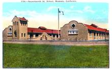 Seventeenth St. School, Modesto, California Postcard