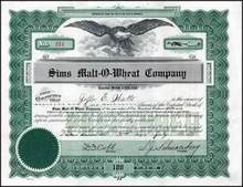 Sims Malt - O - Wheat Company 1919 - Minnesota