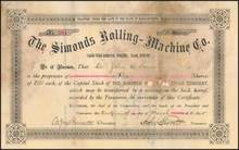 Simonds Rolling Machine Co. 1895 - Fitchburg, Massachusetts