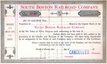 South Boston Railroad Company - Massachusettes 1860's