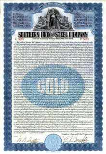 Southern Iron and Steel Company 1909 - Gold Bond ( Standard Steel Company )