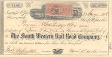 South Western Rail Road Company 1860's - Civil War Era Revenue Stamp