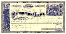 State Controller's Warrant 1880's - Carson City, Nevada