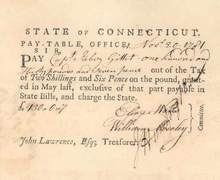 State of Connecticut Pay Table Draft 1781 - Revolutionary War