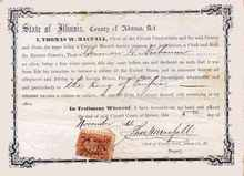 State of Illinois Citizenship Certificate for a Free White Person 1866