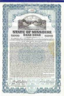 State of Missouri Road Bond signed by Govenor - 1930's