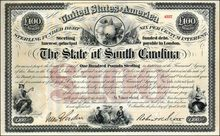 State of South Carolina 1871 signed by Governor - Reconstruction Bond