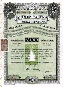 Helsinki Olympics Savings Bond 1938