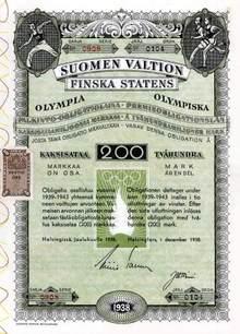 Helsinki Olympics Savings Bond 1938