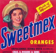 Sweetmex Oranges Crate Label