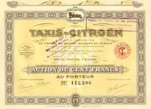 Citroen Taxi Car Company Certificate 1924