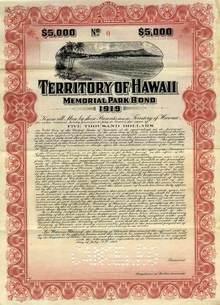 Territory of Hawaii Memorial Park Bond -  Diamond Head Vignette 1919