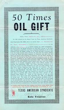 Texas American Syndicate Oil Gift Cert 1929
