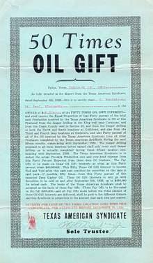 Texas American Syndicate Oil Gift Cert 1929