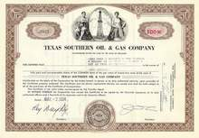 Texas Southern Oil and Gas Stock Certificate