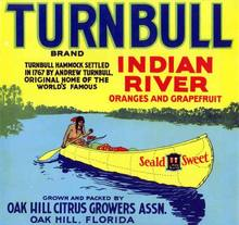 Turnbull Citrus Label - Indian in Canoe