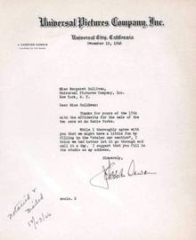 Universal Pictures Company, Inc. Letter signed by J. Cheever Cowdin - Universal Pictures Chairman 1936