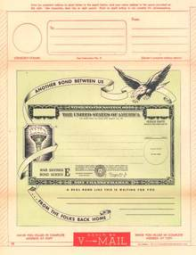 United States of America War Savings Bond Series E V - Mail - WWll