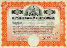 Virginia Coal and Iron Company Stock Certificate 1920's -Roman Goddess Virtus Vignette