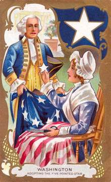 Washington Adopting the Five Pointed Star Postcard