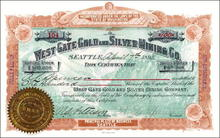 West Gate Gold and Silver Mining Co. 1891 Seattle, Washington