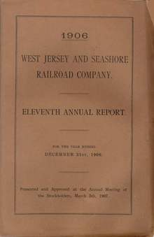 West Jersey and Seashore Railroad Company Eleventh Annual Report
