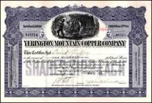 Yerington Mountain Copper Company 1918 - Nevada