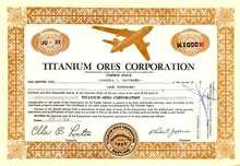 Titanium Ores Corporation Stock Certificate 1954 - Titanium Jet Bomber  - Scripophily