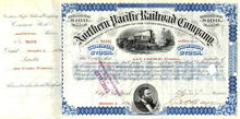Northern Pacific Railroad Company Stock Certificate  - 1876 signed by Jay Cooke