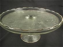 Jeannette Harp Pattern Pedestal Cake Plate