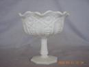 McKee Quintec Prescut Pattern Milk Glass Footed Jelly