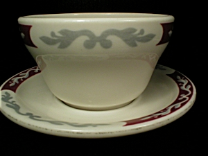 Syracuse China Embassy Pattern Boullion Cup and Matching Saucer