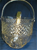 Nice Pressed Glass Ice Bucket with Tongs