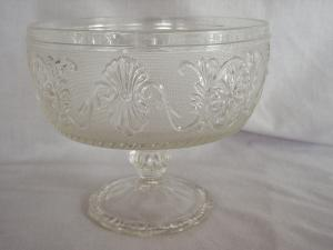 Old Pressed Glass Concord Pedestal Bowl