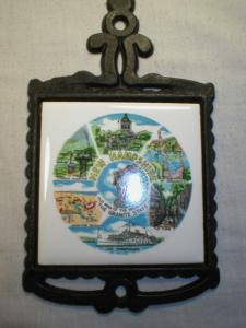 Souvenir Cast Iron & Tile Trivet New Hampshire