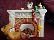 Sleeping Bear by Fireplace Votive Holder