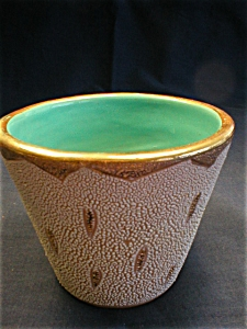Nice Turquoise and Gold Italian Flower Pot