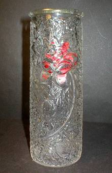 Imperial Glass Raised Rose on Fishnet Goofus Glass Vase