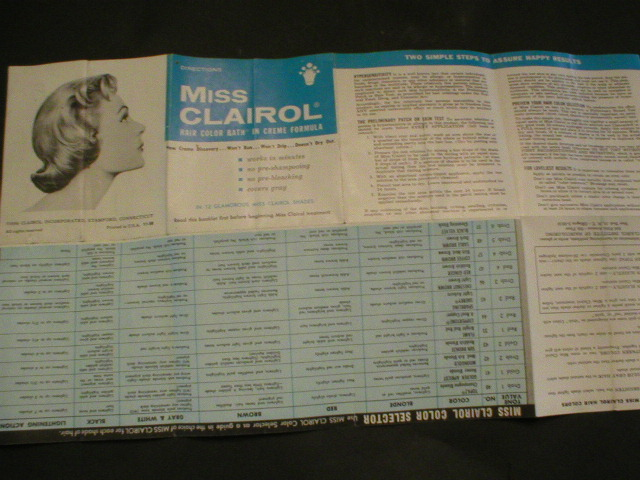 1956 Miss Clairol Hair Color Instructions