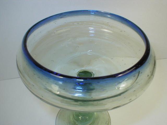 Hand Blown Seeded Glass Compote
